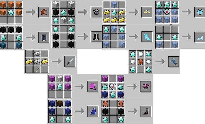 Рецепты для мода Frozencraft