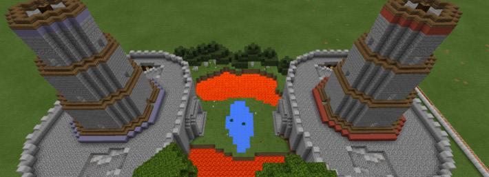 Два больших замка друг на против друга