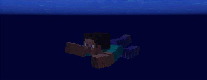 Анимация подводного плавания в Майнкрафт