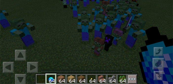 Замораживание кучи зомби в Майнкрафте