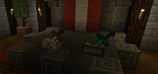Алмазный и железный меч на подставке