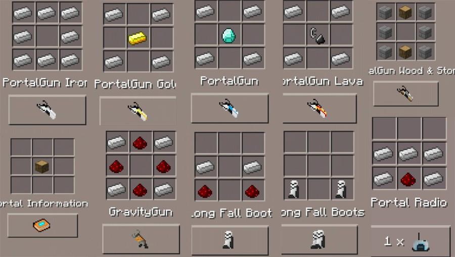 Рецепты крафта мода Portal 2 mod