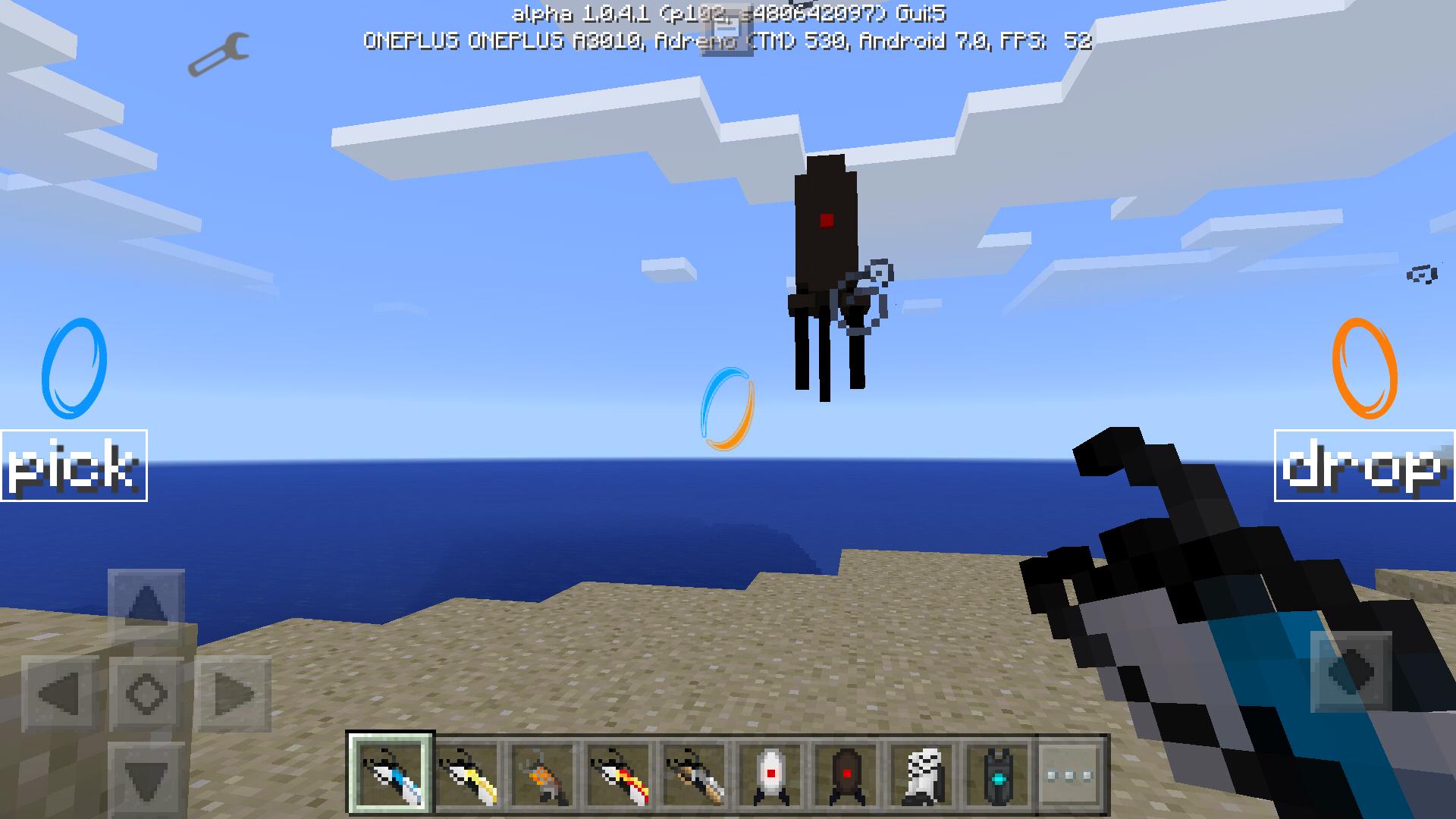 Удерживание турели в воздухе с помощью портальной пушки