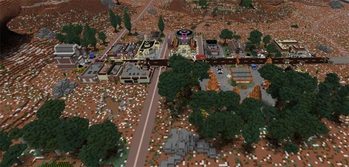 Вид на город Радиатор-Спрингс из фильма тачки