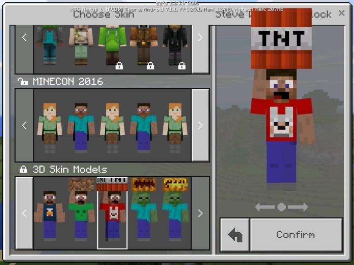 Модель персонажа с ТНТ на голове