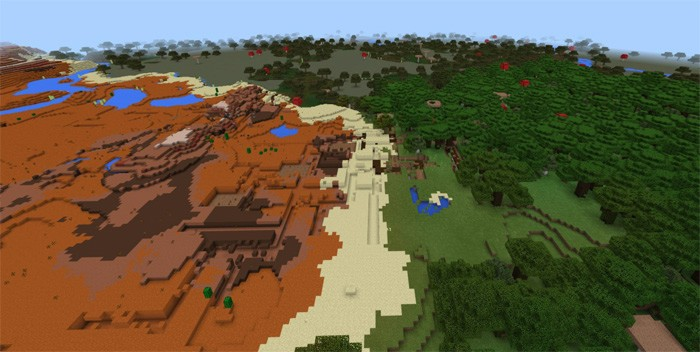 Три биома и шахта