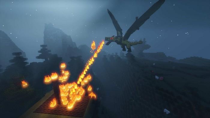 Дракон дышит огнем
