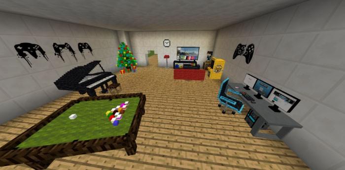 Бильярдный стол, пианино, телевизор