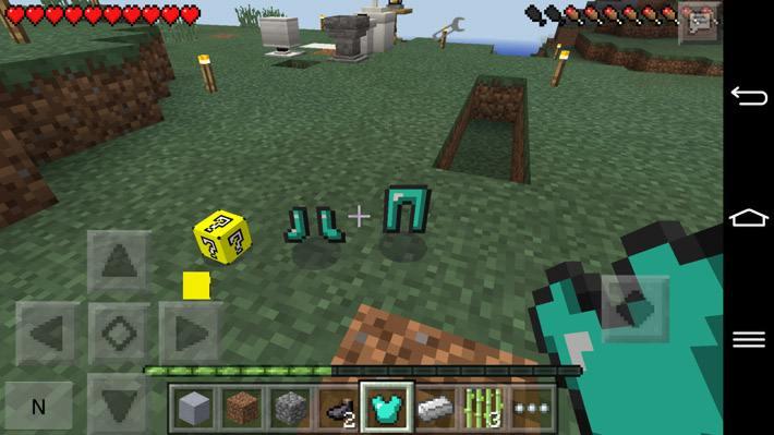 Lucky Block после его разбития и выпавшая из него алмазная броня