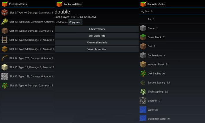 Добавление предметов и блоков в PocketInvEditor PRO
