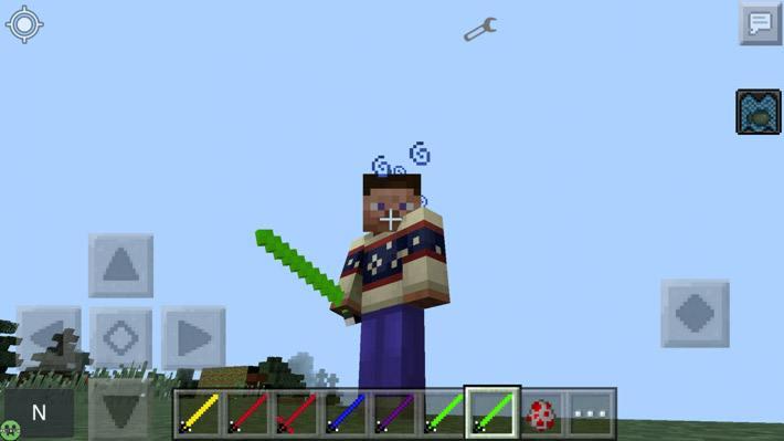 Игрок с зеленым световым мечом
