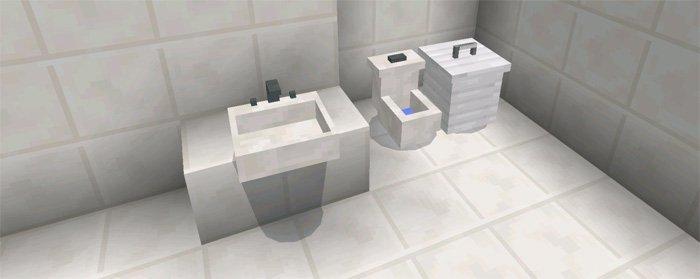 Ванная с умывальником, туалетом и мусорной корзиной