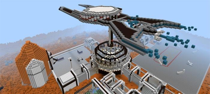 Космический корабль на Марсе в Майнкрафт