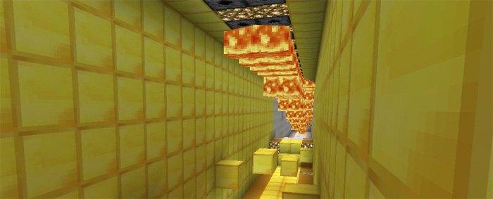 Лава вытекает с раздатчиков на потолке, чтобы упасть вам на голову