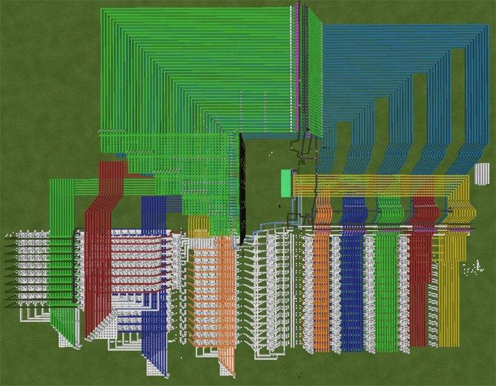 Масштабы механизма 16-битного калькулятор в Майнкрафт