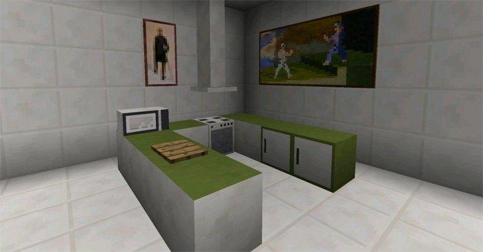 Кухня обставленная мебелью с помощью этого мода