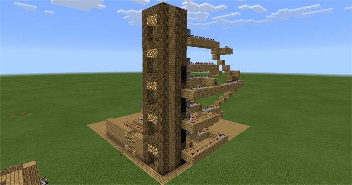 5-ти этажный лифт в Minecraft PE