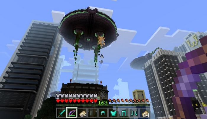Космический корабль повис над городом