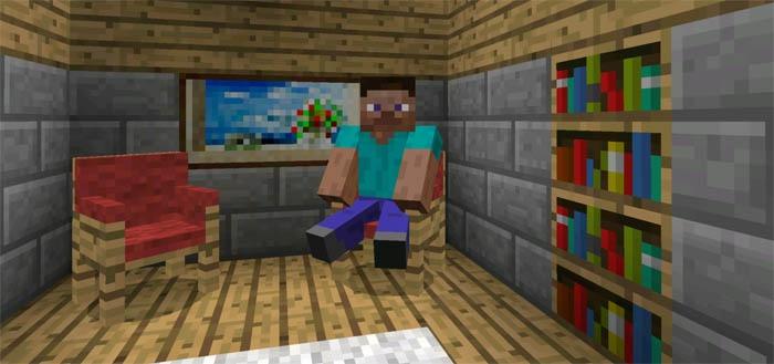 Стив сидящий на табурете