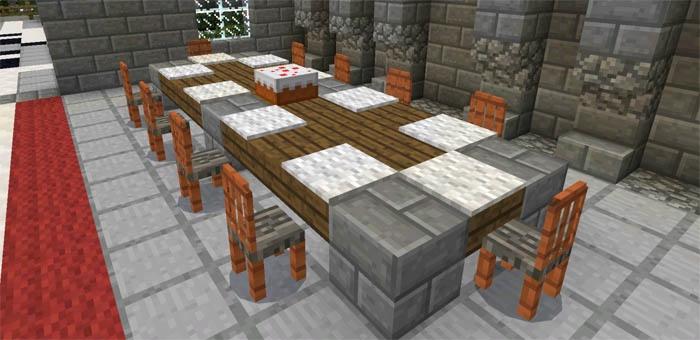 Длинный стол и стулья вдоль него