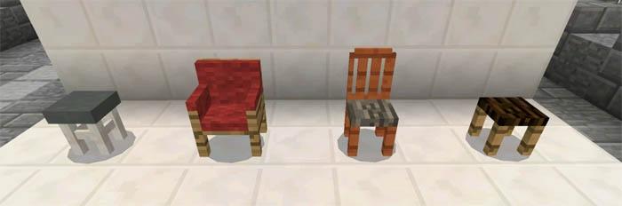Все 4 стула, которые будут добавлены в игру.