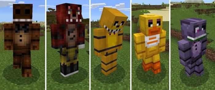 С лева на право: Фредди, Золотой Фредди, Фокси, Бонни