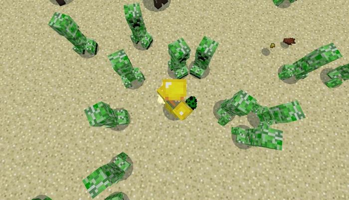 Игрок в окружении криперов, но его не атакуют