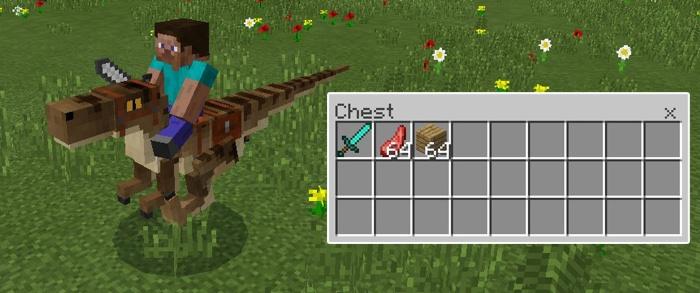 Используйте динозавров как передвижное хранилище в Minecraft