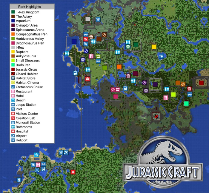 Карта Парка с динозаврами