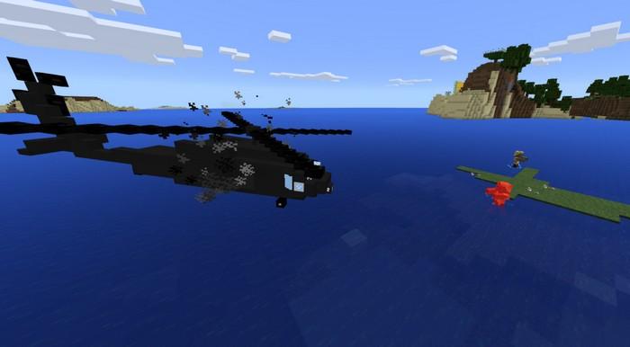 Боевой вертолет атакует моба