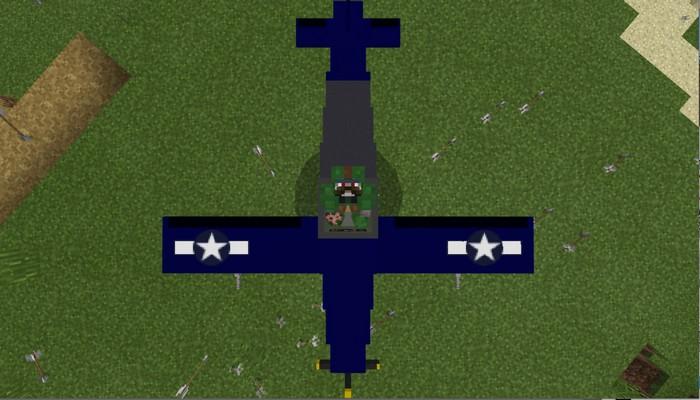 Внутри военного самолета в Майнкрафте