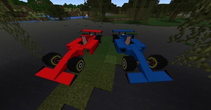 Синий и красный гоночные автомобили