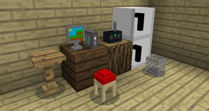 Холодильник, компьютер, стол и стул в Minecraft 1.2.5