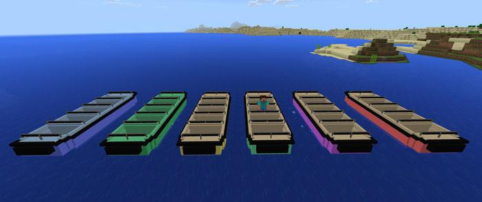 Прогулочные лодки разных цветов